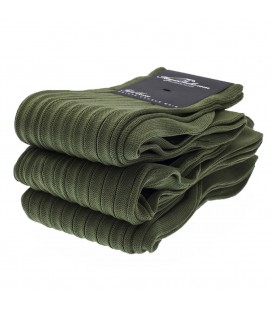 Chaussettes Fil d'Ecosse avec cotes vert olive