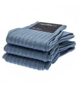 Chaussettes Fil d'Ecosse avec cotes bleu ciel