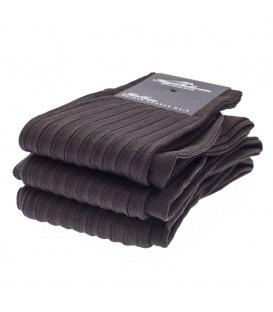 Chaussettes Fil d'Ecosse avec cotes marron foncé