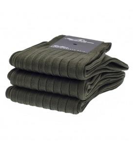 Chaussettes Fil d'Ecosse avec cotes vert foncé