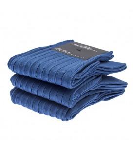 Chaussettes Fil d'Ecosse avec cotes bleu roi