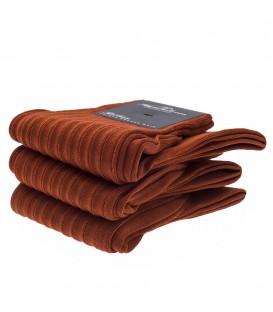 Chaussettes Fil d'Ecosse avec cotes orange rouille