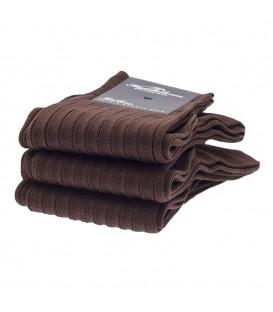Chaussettes Fil d'Ecosse avec cotes marron