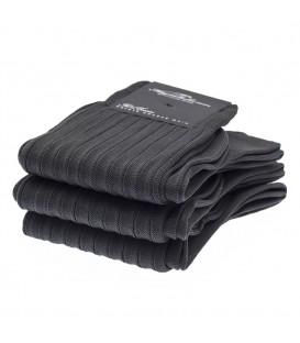 Chaussettes Fil d'Ecosse avec cotes gris anthracite