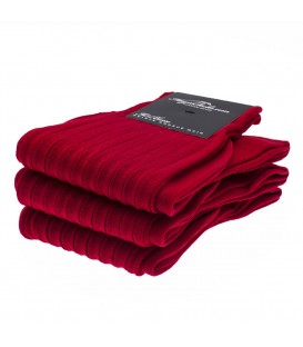Chaussettes Fil d'Ecosse avec cotes rouge